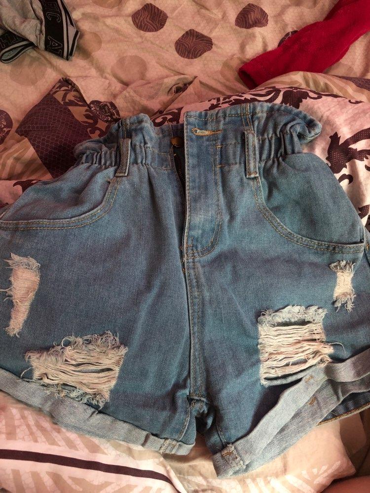 Shein Ripped Rolled Hem Denim Shorts Women Blue Pocket High Waist Shorts Summer Casual Straight Leg Ladies Belted Jean Shorts photo review