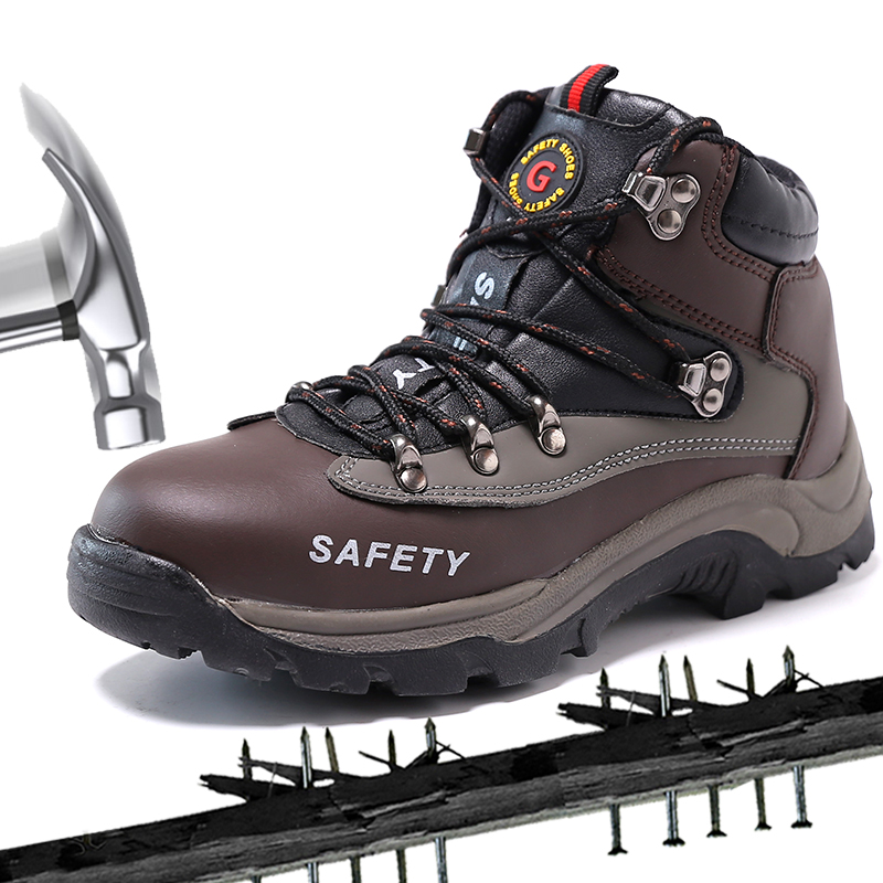 Work Boots Safety Steel Toe Shoes Men Officer Leather Protect Feet Wear Resistant Anti Slip Construction