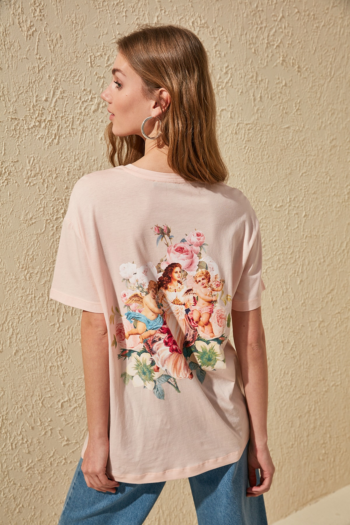 Trendyol Backpack Printed Boyfriend Knitted T-Shirt TWOSS20TS0271
