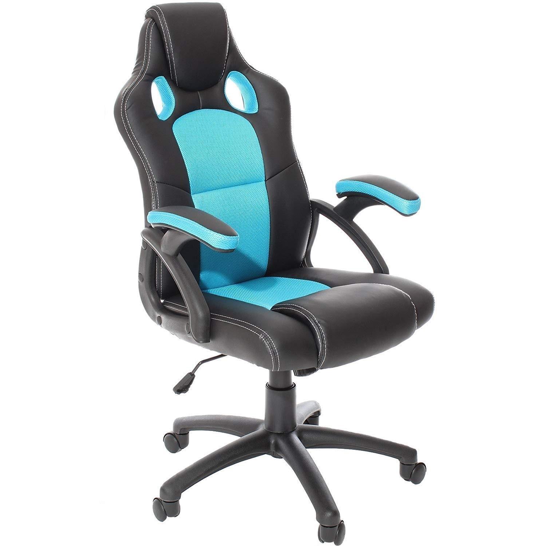 Office Armchair IMOLA, High, Gas, Tilt, Similpiel Black Fabric Turquoise