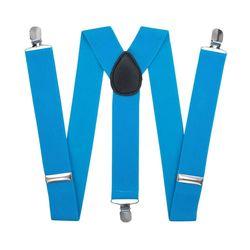 Подтяжки для брюк широкие (3.5 см, 3 клипсы, Голубой) 52875