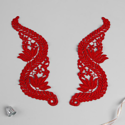 3576286 Appliques Sewing Lais Polyester 22*7 Cm Red