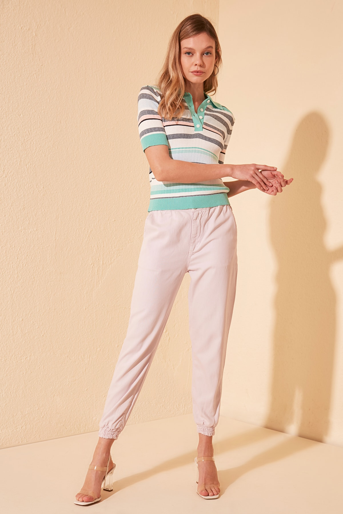 Trendyol Beli Elasticized High Waist Jogger Jeans TWOSS20JE0389