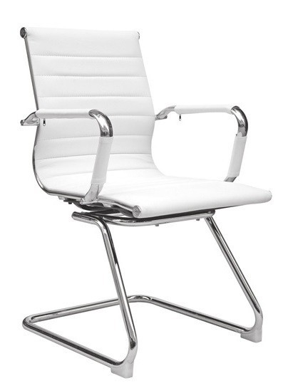 Office Armchair BUDAPEST, Fixed Skate, Plating, Similpiel White