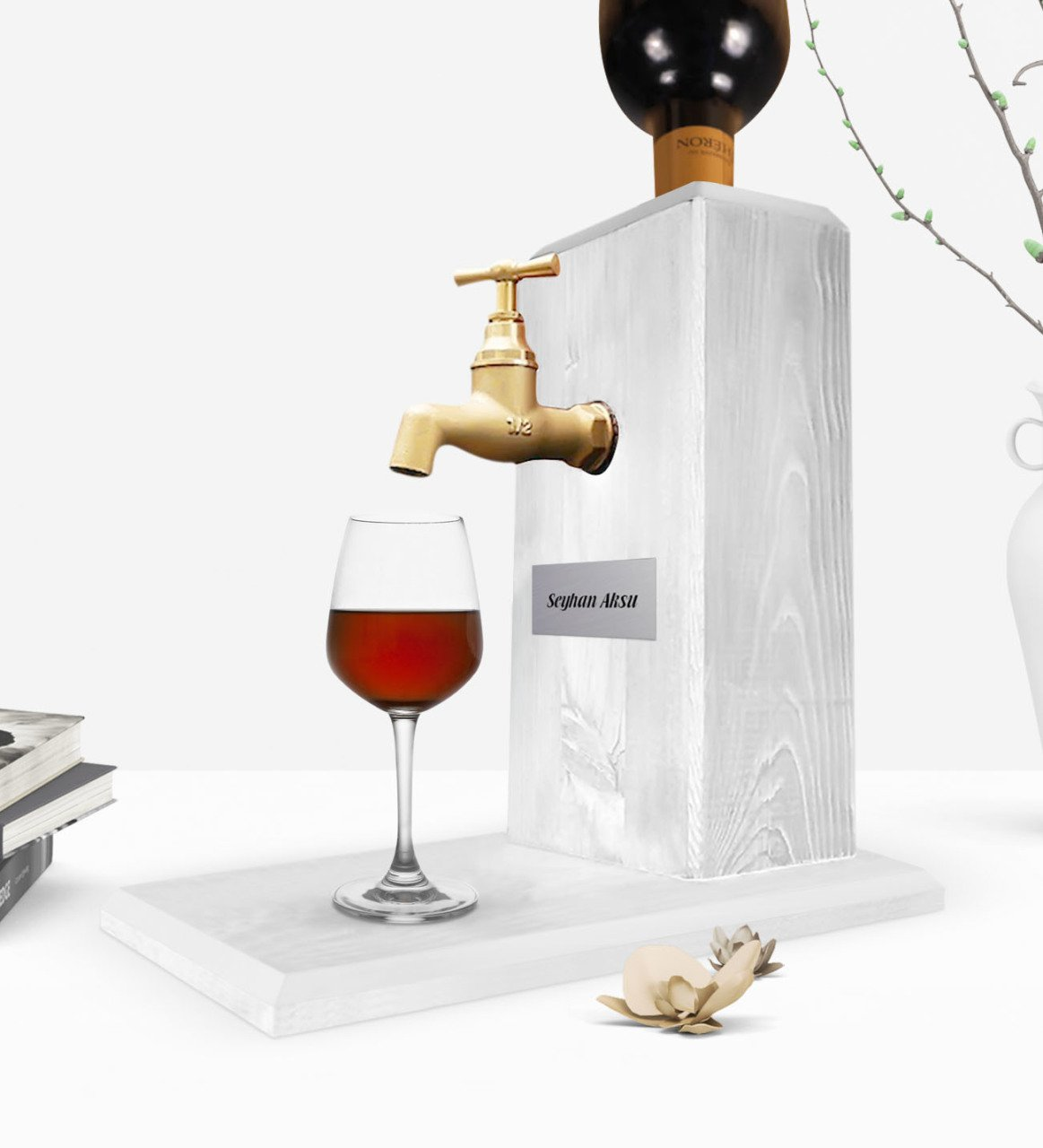 Personalized Tap Natural Wood Wine Stand-Vintage White