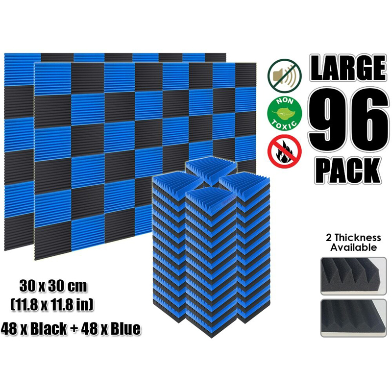 Arrowzoom 96 pièces bleu et noir multi cale acoustique Studio mousse panneau d'absorption acoustique 30x30 cm (11.8x11.8 ) KK1167