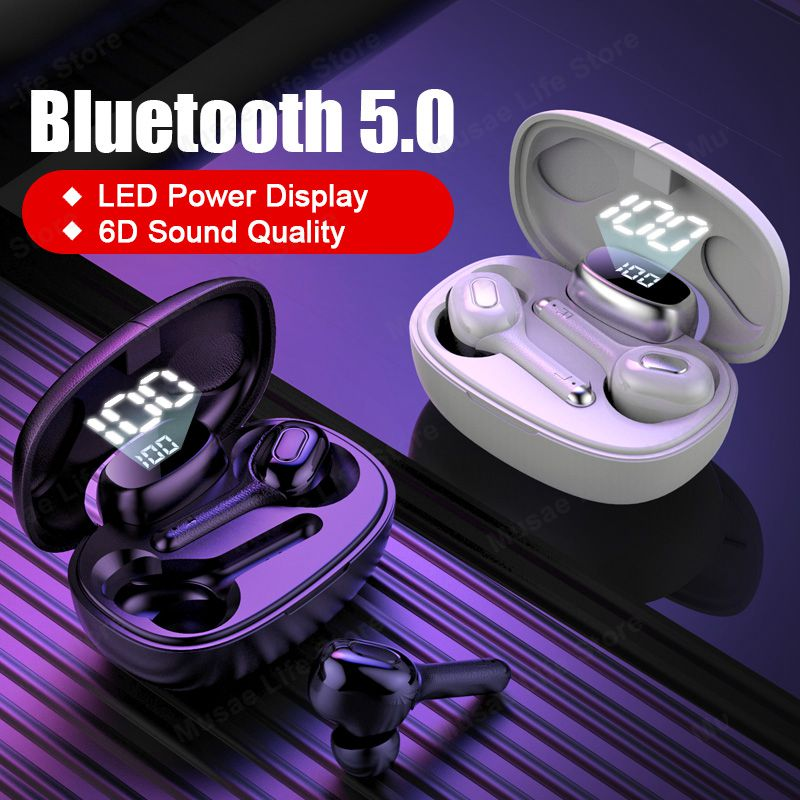 TWS <font><b>Bluetooth</b></font> <font><b>Earphones</b></font> <font><b>Wireless</b></font> <font><b>Headphones</b></font> Stereo Sport Headsets <font><b>Mini</b></font> True <font><b>Wireless</b></font> Earbuds LED Display For Phone With Mic image