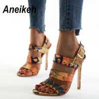 Aneikeh nouveau 2020 Sexy toile chaussures femme sandales à bout ouvert talons hauts femmes talons minces sandales robe fête pompes 11CM taille 41 42