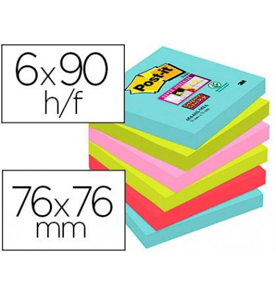 NOTEPAD STICKY NOTES REMOVABLE POST-IT SUPER STICKY 76X76 MM WITH 90 SHEET PACK 6 PCS COLORS MIAMI