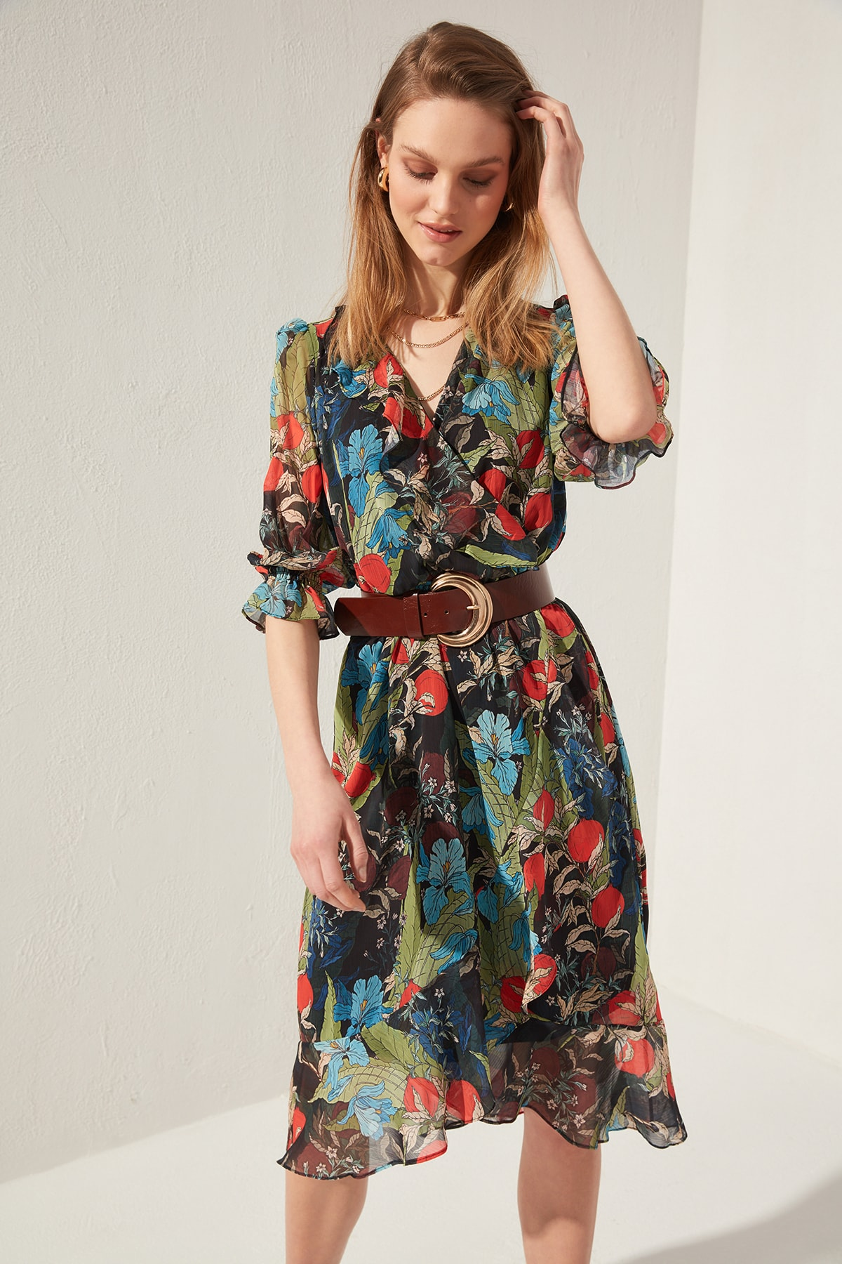 Trendyol Double Breasted Collar Dress TWOSS20EL0494