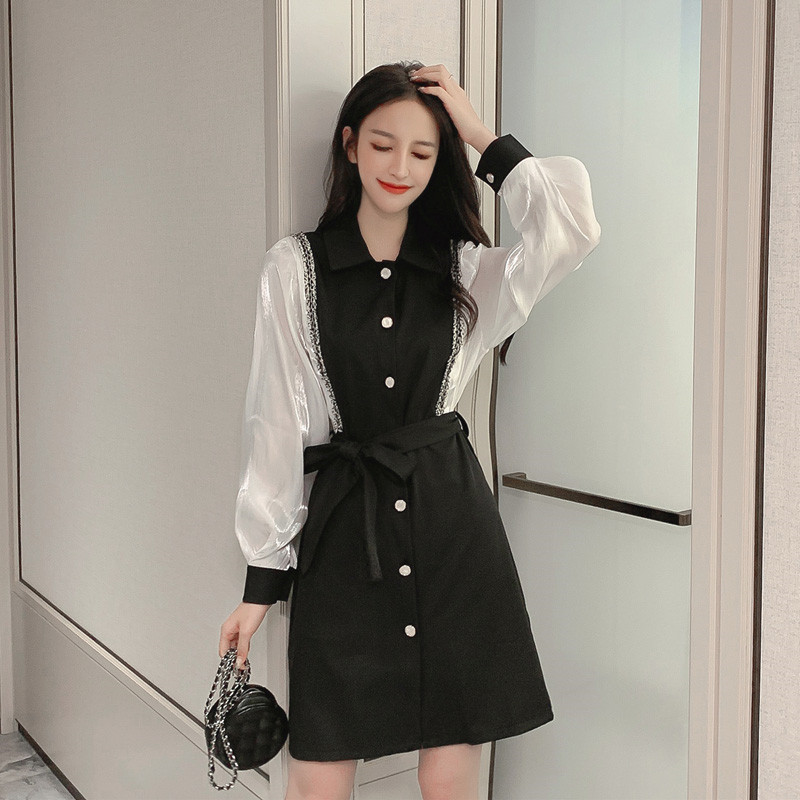 The new spring fashion is thin and fake two-piece bottoming shirt Hepburn style French super fairy women's temperament dress 3