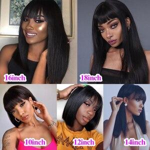 Beaudiva Short Human Hair Wigs with Bang Brazilian Straight Hair Wigs For Black Women Remy Short Bob Human Hair Wigs 10-18Inch