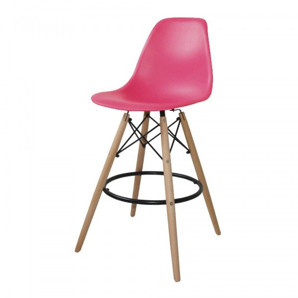 Stool TOWER, Wood, Abs Pink