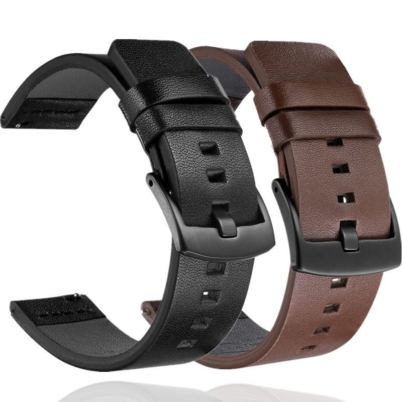 Genuine Black Leather Watch Stap Band For Samsung Galaxy Watch 42mm 46mm Gear S3 S2 Sport Watch Band For Huami Amazfit