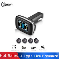 Tire Pressure motorcycle USB Monitor Black Automatic TPMS car security Tmps Gauge tyre pressure sensor High Temperature Alarm