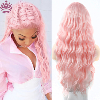 AZQUEEN Long Pink Wigs Water Wave Heat Resistant Synthetic Wig for Women Middle Part Natural Hair Wig wignee hand made front ombre color long blonde synthetic wigs for black white women heat resistant middle part cosplay hair wig