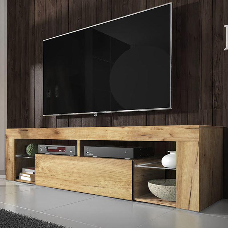 SELSEY BIANKO- Meuble TV (140 cm, chêne lancaster - sans LED)