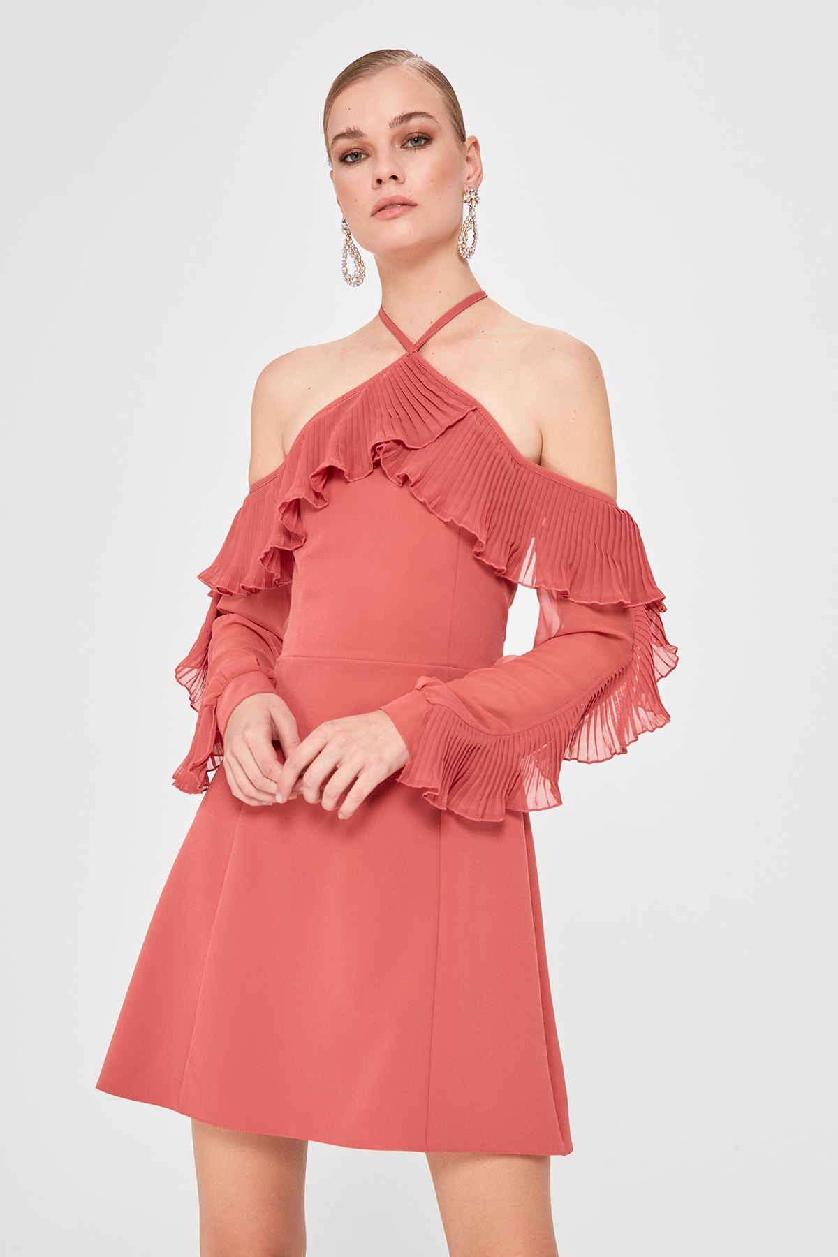 Trendyol Pleat Flounces Dress TPRAW20EL0502