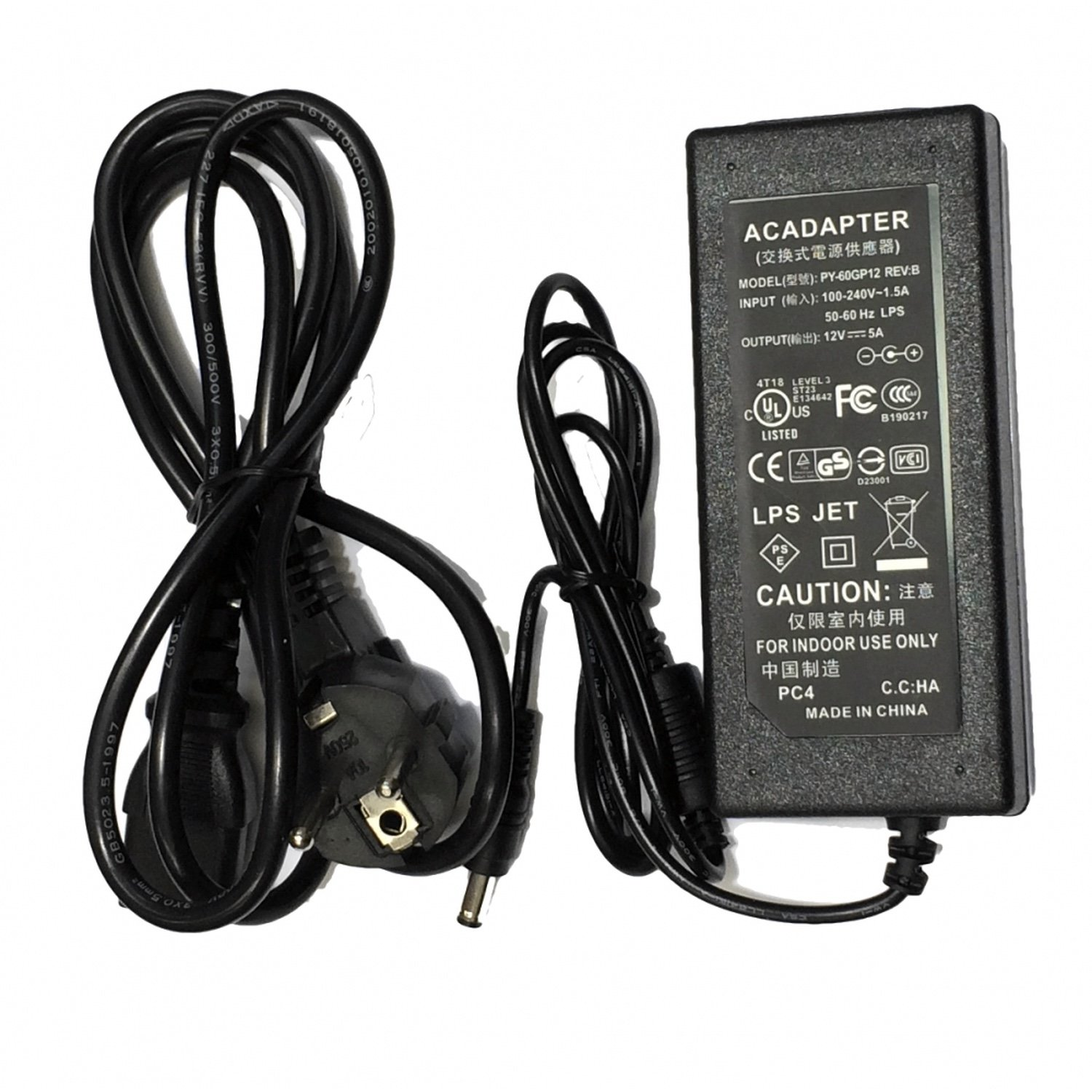 Power supply 12v 5A with connector 5,5mm tft and led monitors