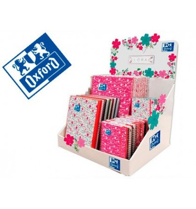 SPIRAL NOTEBOOK OXFORD CARTON EBOOK1 TOP EXTRADURA 8/A6/A5 +/A4 + FLORAL EXHIBITOR 40 PCS