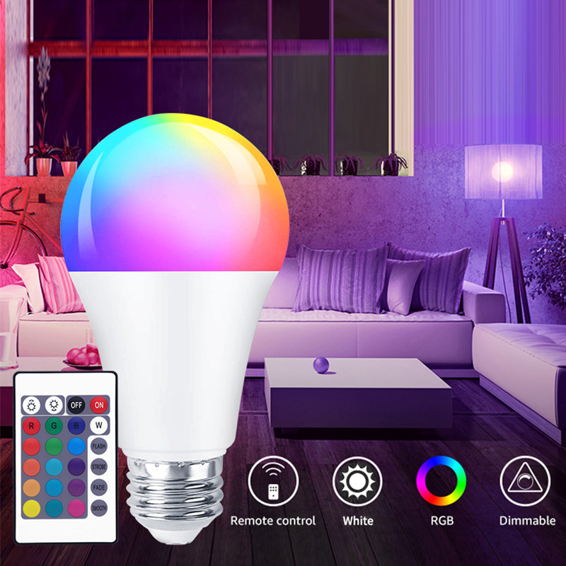 LED Light Bulb Color Changing Dimmable IR Control E27 Energy Saving Colorful RGB Night Lights Party Holiday Lamp Home Lighting