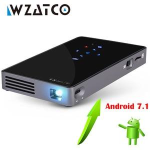 Image 1 - WZATCO CT50 Android 7.1 OS WIFI Bluetooth Pico Mini Micro lAsEr DLP projecteur Portable Proyector avec batterie pour Home cinéma