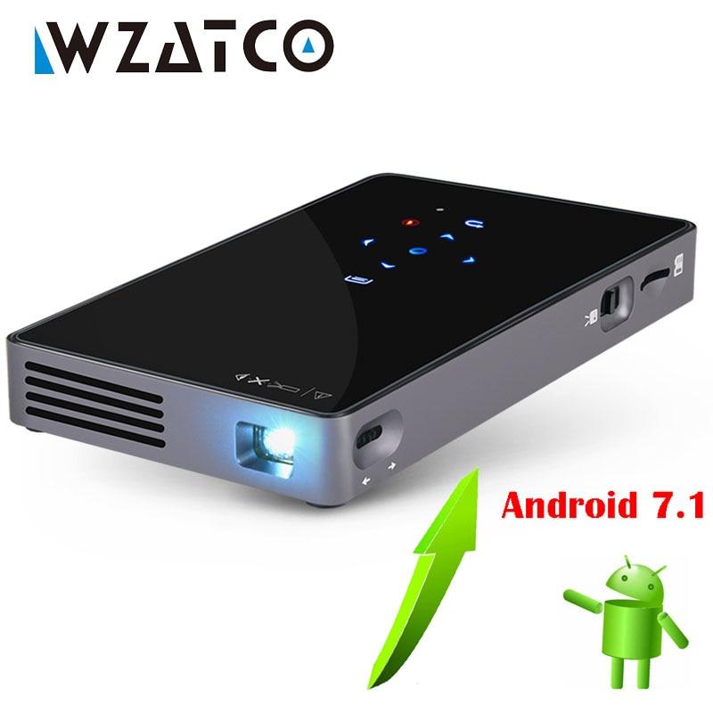 WZATCO CT50 Android 7,1 OS WIFI Bluetooth Pico Mini Micro lAsEr DLP Projektor Tragbare Proyector mit Batterie für Heimkino