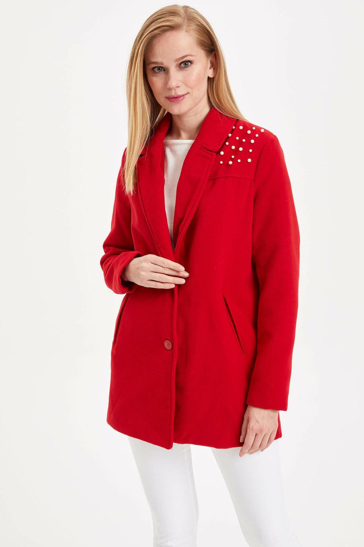 DeFacto Women Autumn Winter Coat Black Red Thick Cotton Coat Cachet Female Warm Overcoat Pearl Decors-I2947AZ17WN-I2947AZ17WN