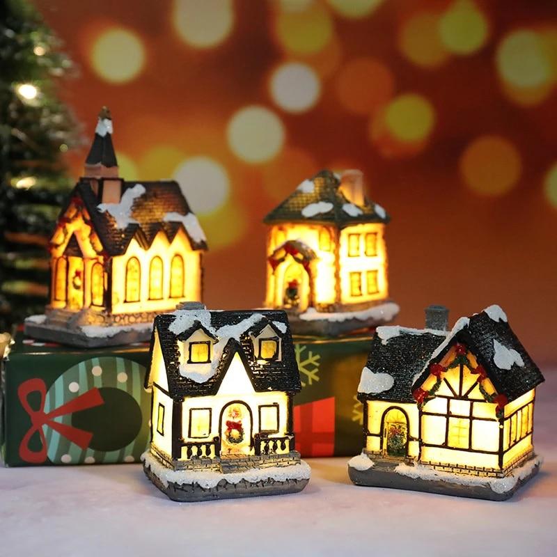 2020 Christmas Lights Resin Miniature House Furniture LED House