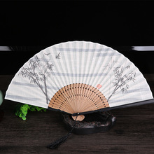 Vintage Folding Fan Portable Antique Bamboo Handle Ink Painting for Wedding Dance
