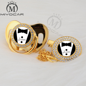 Image 4 - Miyocar chupeta personalizada, chupeta personalizada dourada pequena e prendedor de chupeta, livre de bpa, design exclusivo P SR