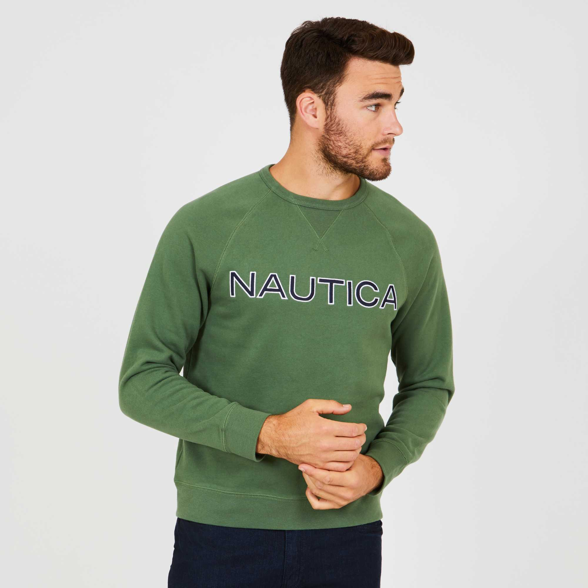 Nautica Jersey Men Chest Logo Cotton Green K83171.3FJ