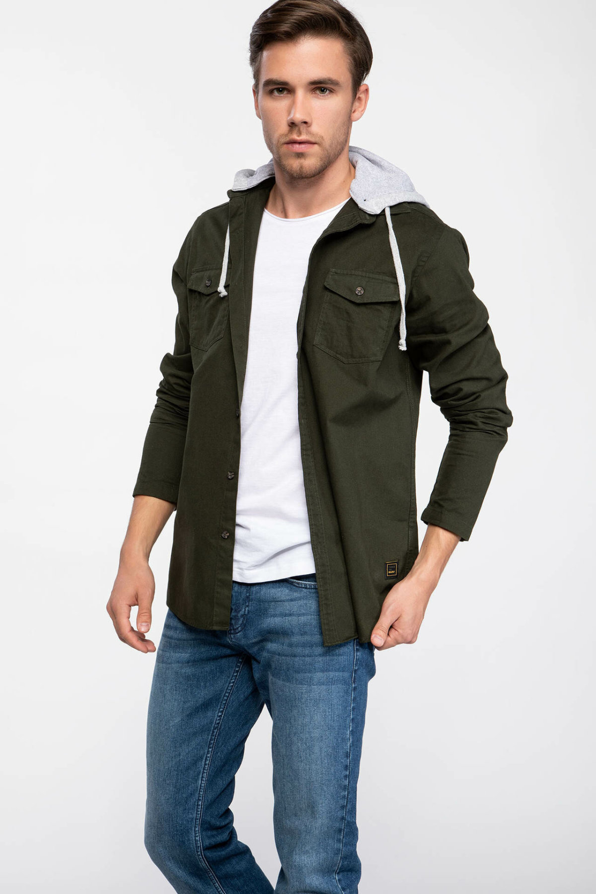 DeFacto Man Army Green Winter Thick Long Sleeve Shirt Men Hooded Casual Top Shirts Male Shirts Cloth-J3193AZ18WN