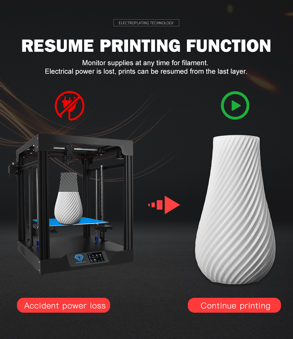 TWO TREES 3D Printer With Filament Sensor And Power Parameter Display