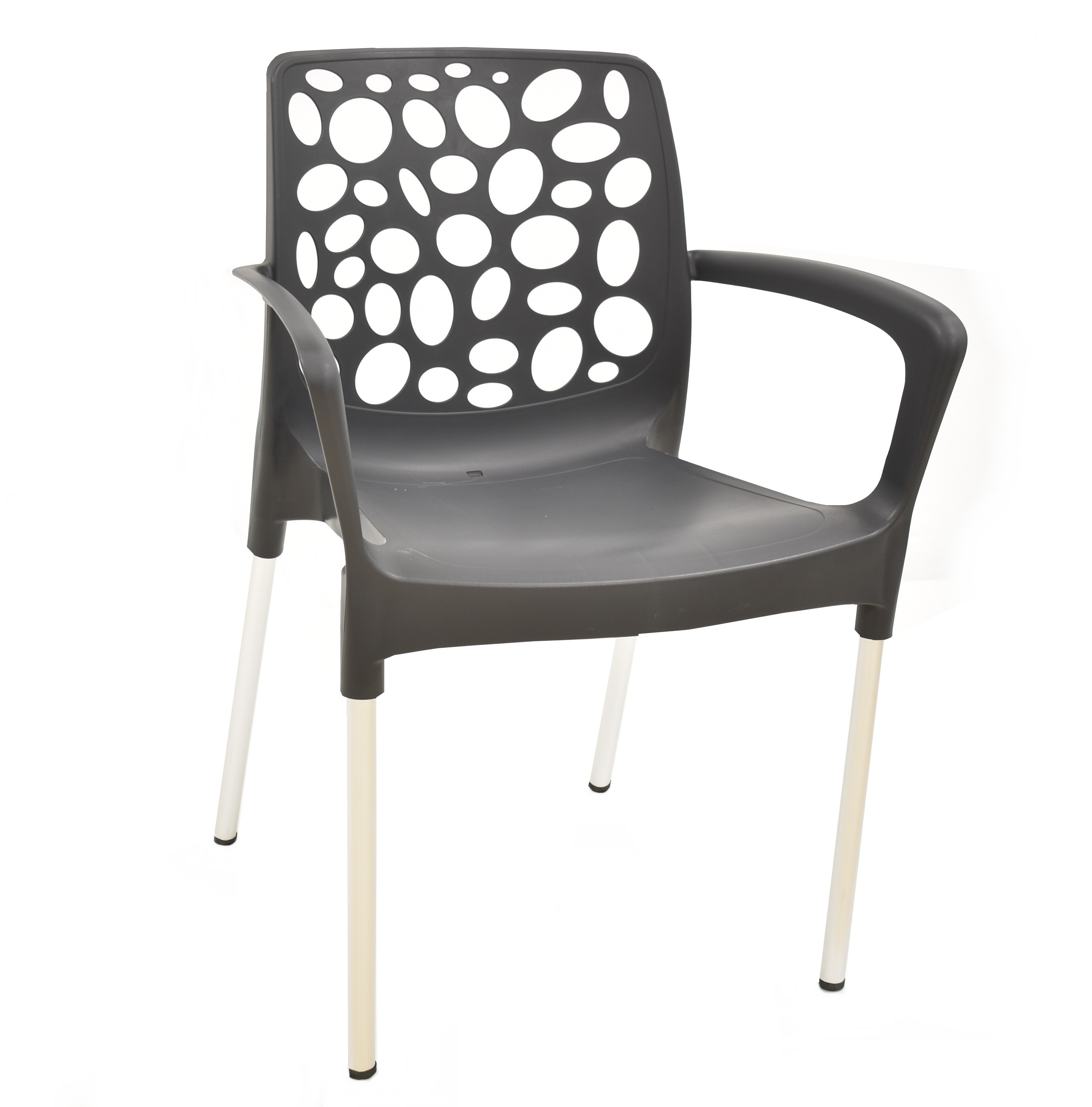 Armchair ALLEGRA, Aluminum, Stackable, Polypropylene Anthracite