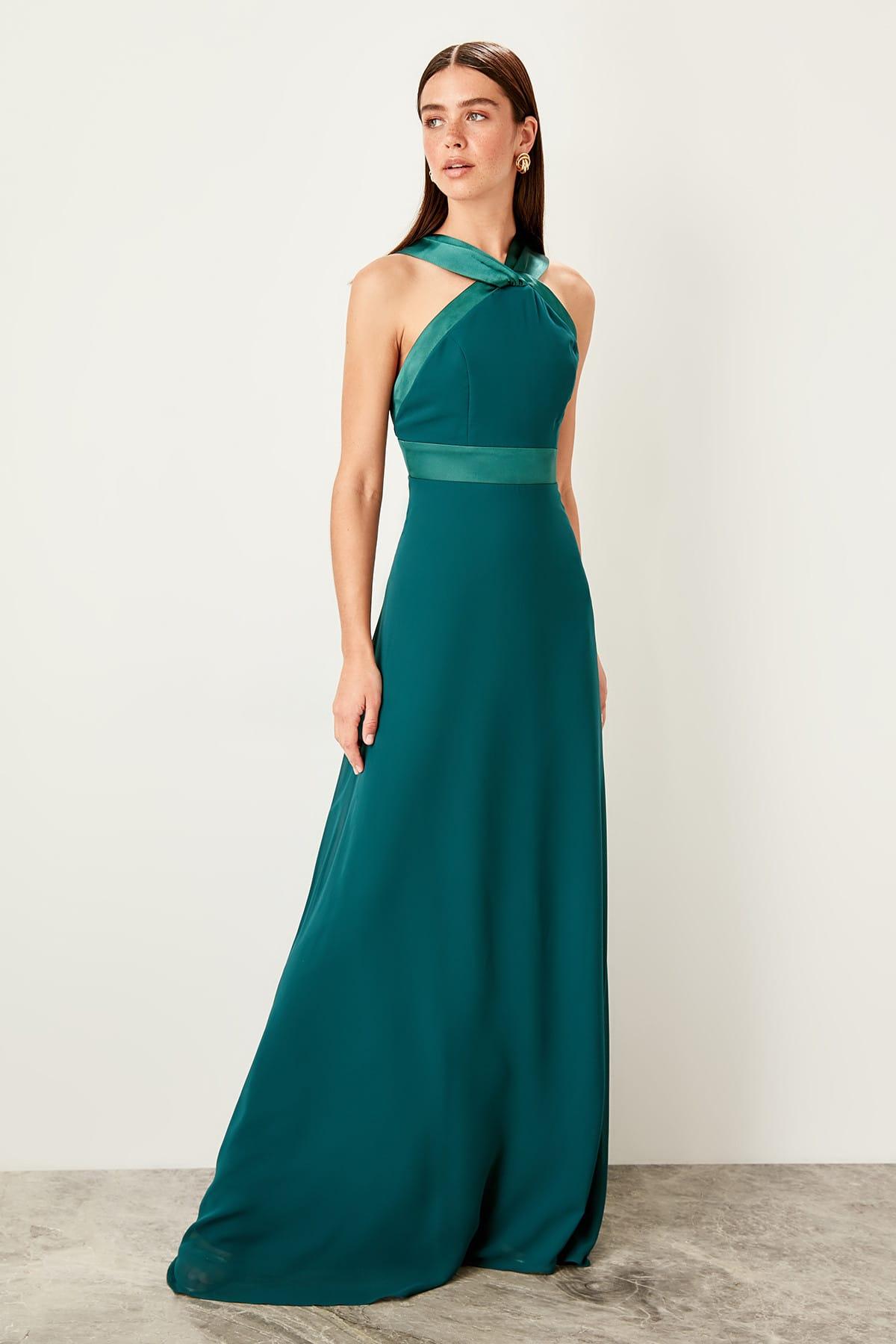 Trendyol Grogren Tape Detailed Evening Dress TPRSS19UT0120