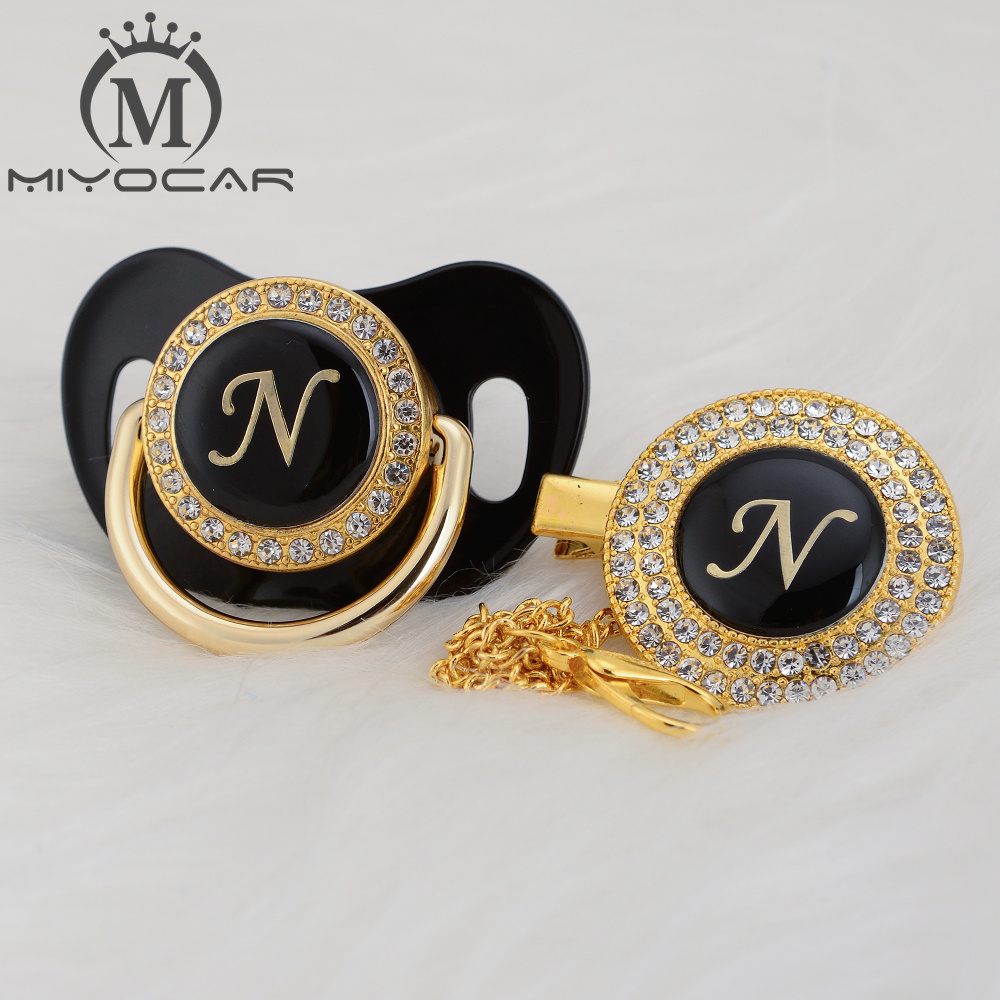 MIYOCAR Unique Design Name Initial Letter N Elegant Bling Pacifier And Pacifier Clip BPA Free Dummy Bling Unique Design LN
