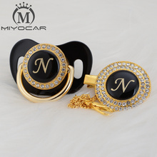 MIYOCAR unique design name Initial letter N elegant bling pacifier and clip BPA free dummy LN