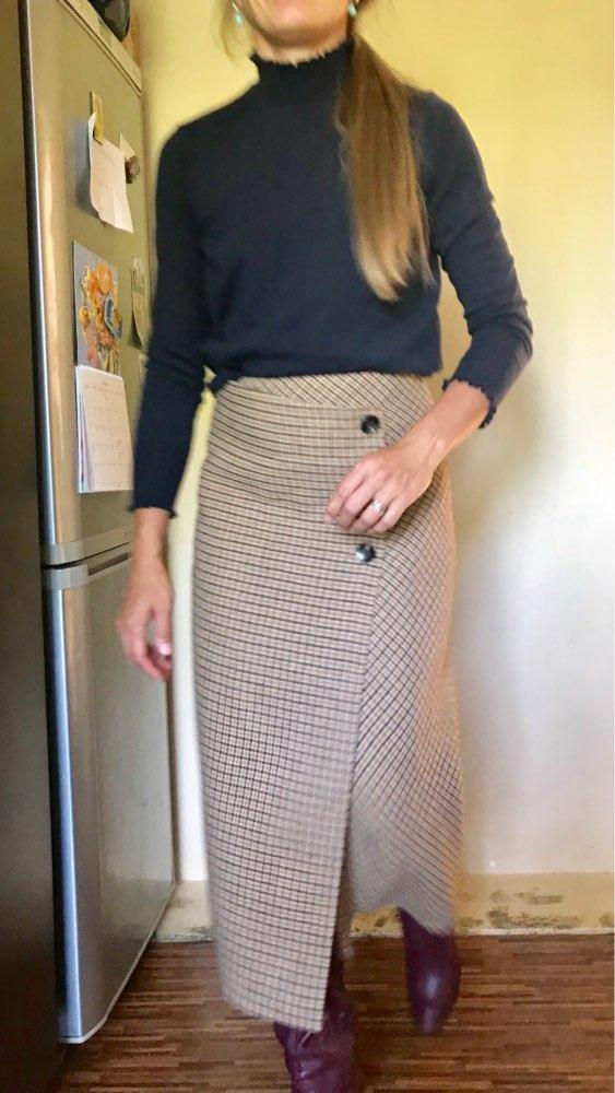Female Hight Waist Asymmetry Woolen Midi Skirt Wrap New Plaid Women Clothing Vintage Fashion Jupe Longue Femme Slim photo review