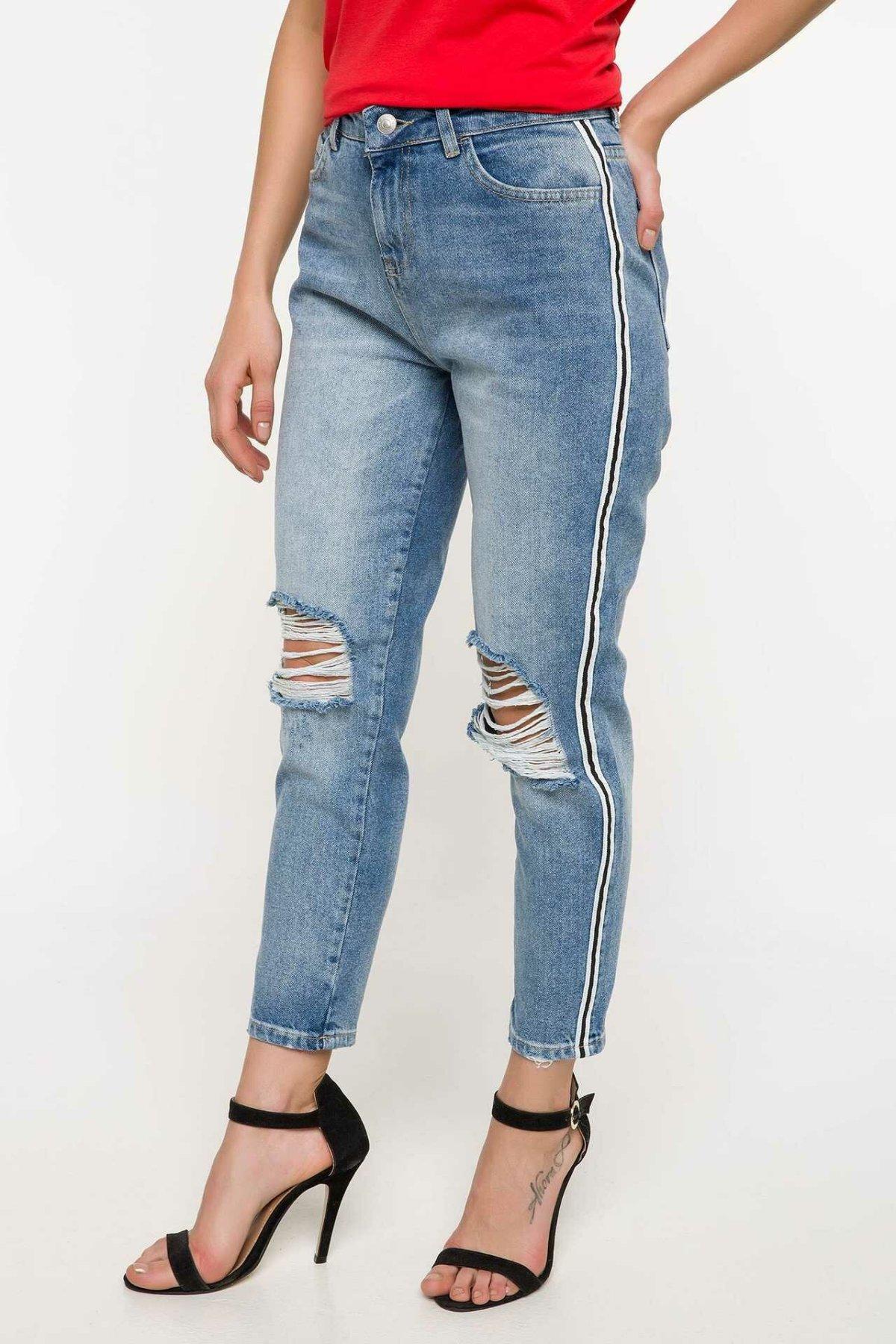 DeFacto Blue Women Worn Hole Loose Jeans Denim High-waist Denim Stretch Casual Denim Pencil Nine Minutes Trousers-J2015AZ18SM