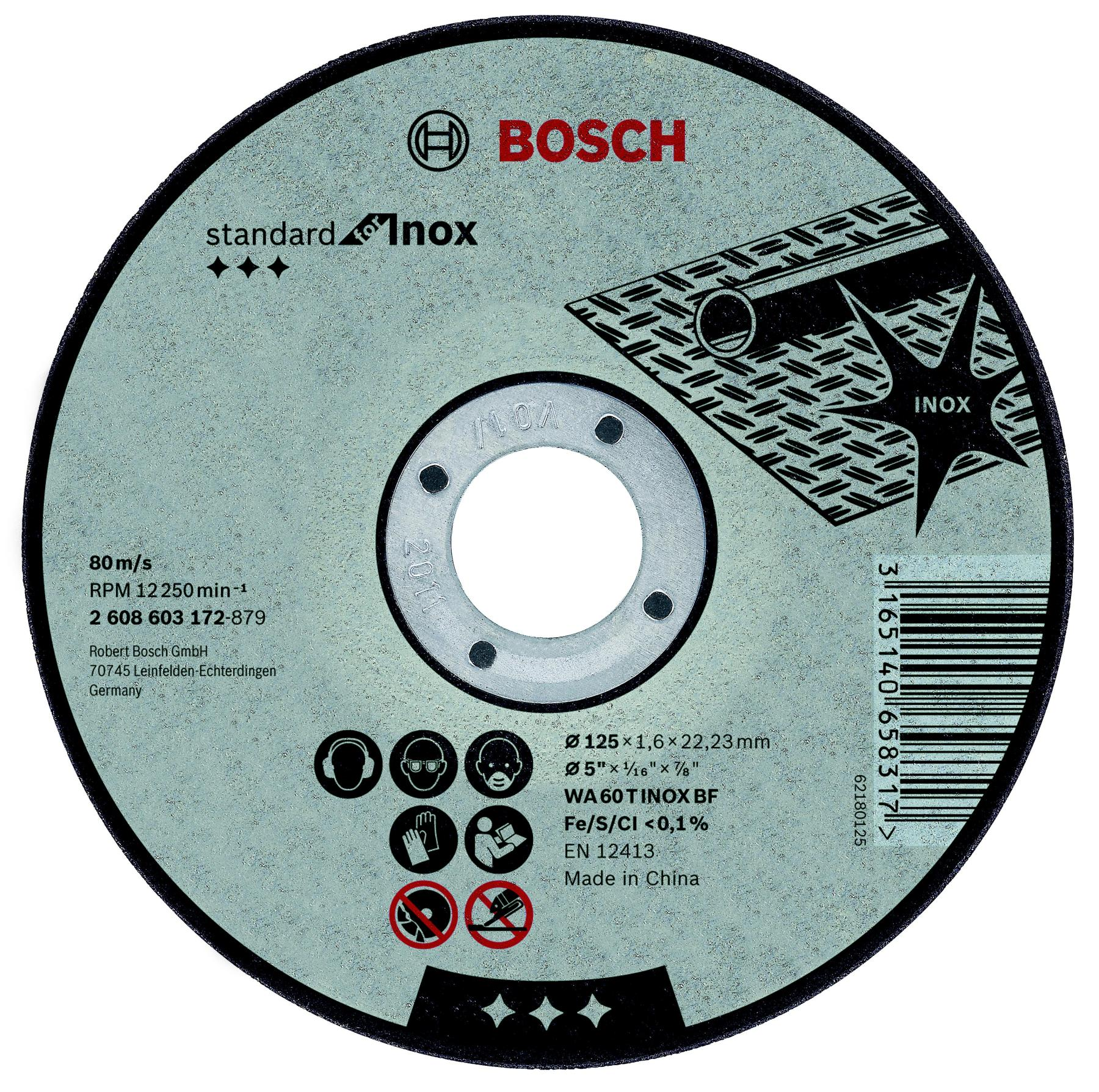Circle Cutting BOSCH 115х1. 6x22 Standard For Inox (2.608.603.170)