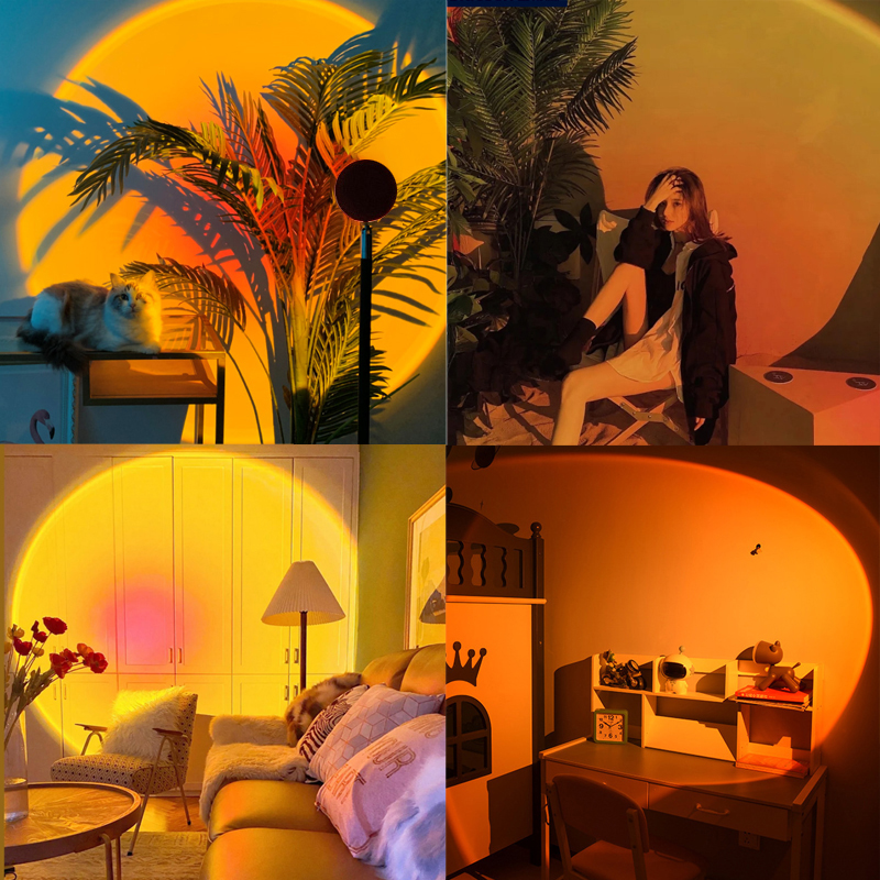 Sunset Lamp LED Lamp Projector Night Light Rainbow Art Wall Decor Projection Lamp USB Sunset Red Atmosphere Room Decoration