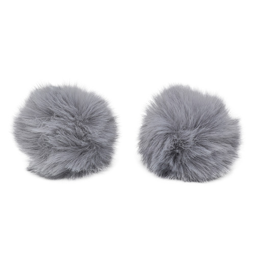 Pompon Made Of Artificial Fur (rabbit), D-6cm, 2 Pcs/pack (E St. Gray)