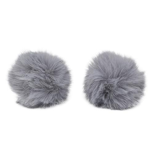 Pompon Made Of Artificial Fur (rabbit), D-6cm, 2 Pcs/pack (E St. Gray)