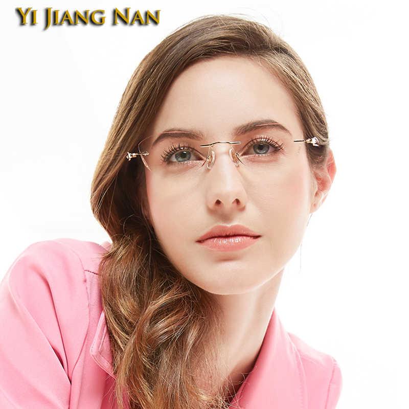 Mulher titânio ultraleve óptica monturas de lentes mujer óculos óculos óculos de prescrição sem aro quadro