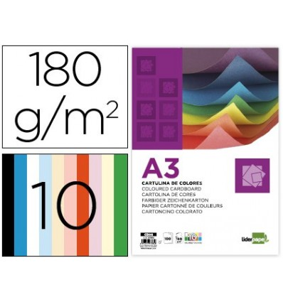 CARDBOARD LEADERPAPER A3 180G/M2 10 ASSORTED COLORS PACK 100 SHEETS