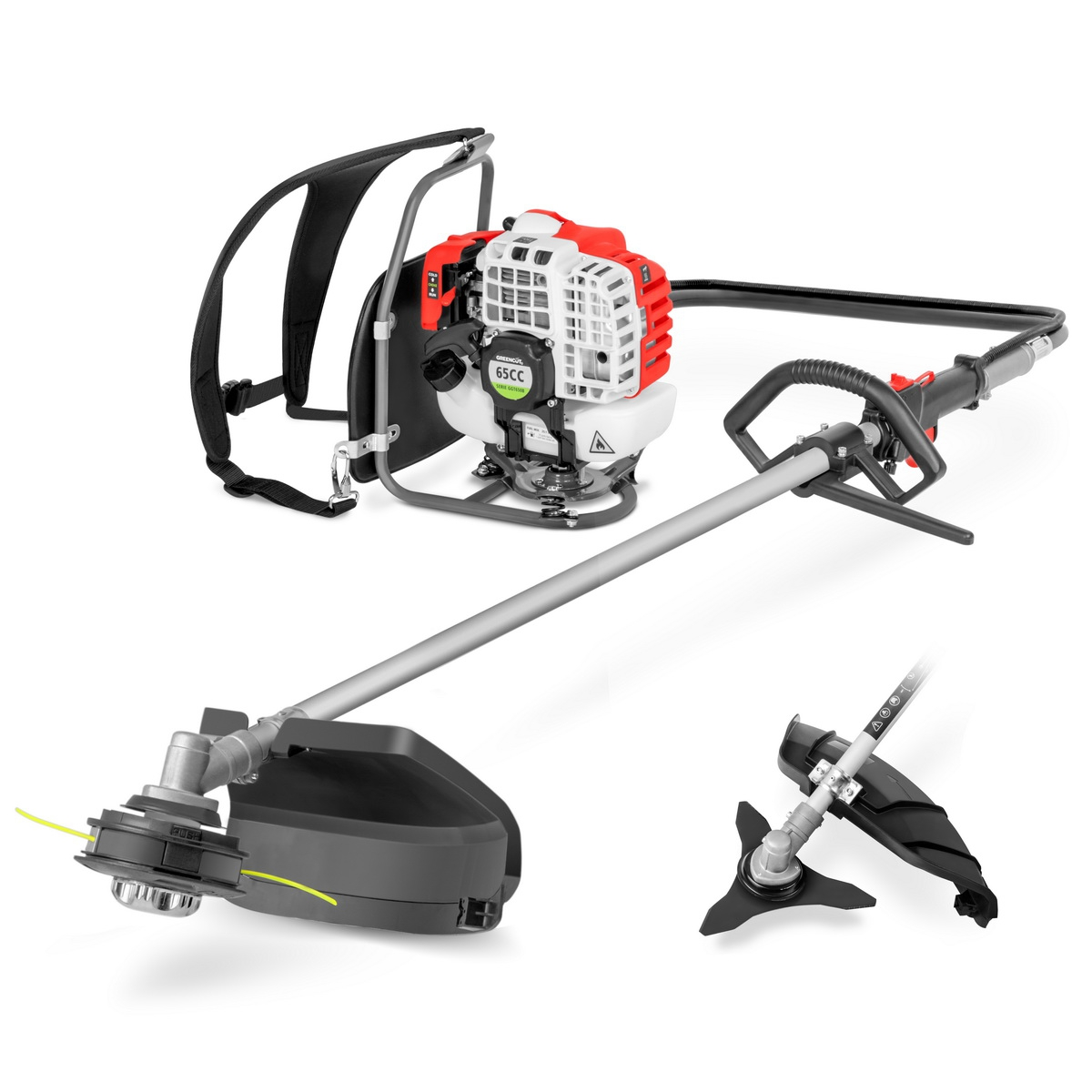 Brushcutter Gasoline's Backpack GREENCUT 65cc And 4,9cv 2 In 1 With Brushcutter Accessories Disc 3 Tips, Headstock From Thread And A