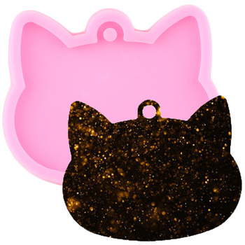Shiny Cat Heads keychains Mold Silicone Molds Polymer Clay DIY Pendant Jewelry Making Glitter Epoxy Resin Mould