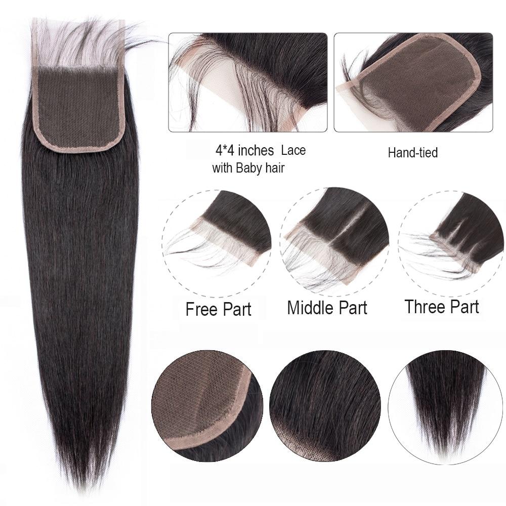 Uc204b6929aa64056a8b660ed74660301G BEAUDIVA Human Hair Bundles With Closure Natural Color Peruvian Straight Hair Weave Bundles With Closure