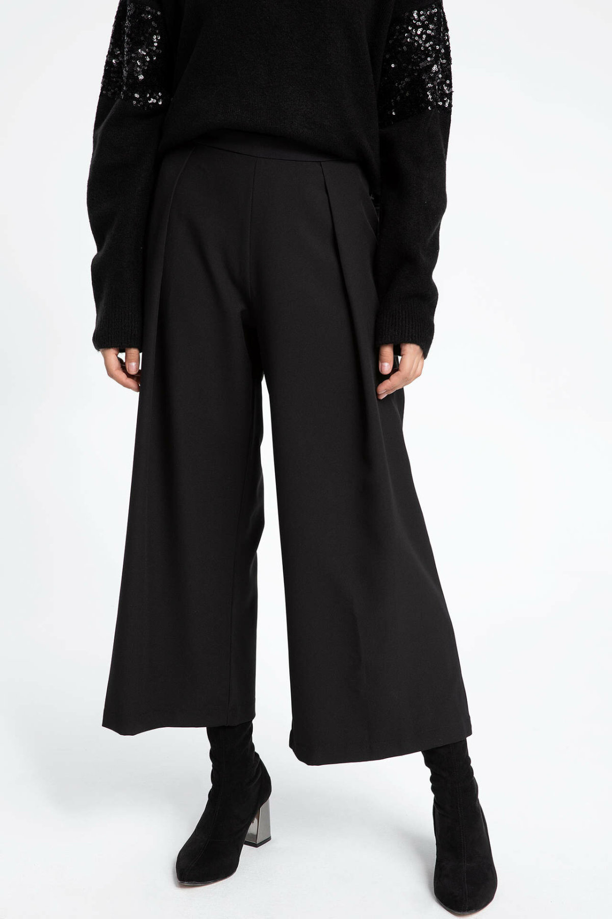 DeFacto Woman Autumn Stylish Wide-leg Pants Women Casual Loose Black Long Pants Female Ninth Trousers-I1833AZ17AU